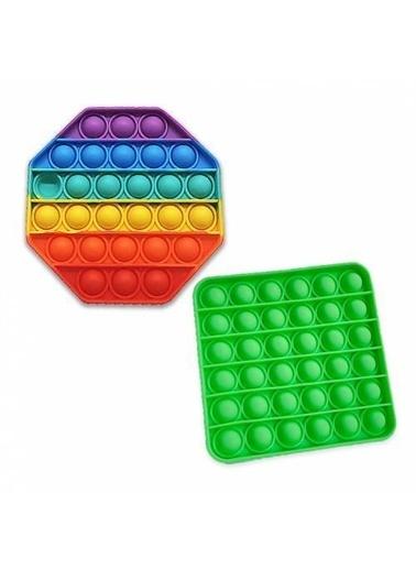 Mashotrend Renkli Sekizgen Push Pop + Yeşil Kare - Pop It Push Bubble Fidget Oyuncak - Stres Oyuncak Renkli